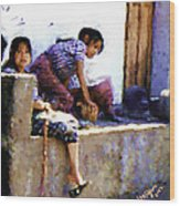 Guatemalan Children Gathered Wood Print