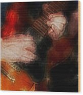 Guitar Traveling Pigments Wood Print