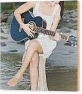 Guitar Woman Wood Print