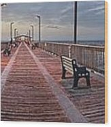 Gulf State Pier Wood Print by Michael Thomas