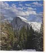 Half Dome In Winter Wood Print
