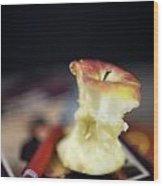 Half Eaten Apple On Books Wood Print