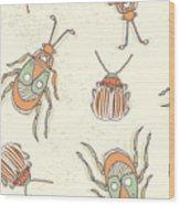Hand Drawn Beetles Seamless Pattern Wood Print