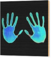 Hand Prints On Thermochromic Paper Wood Print