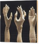 Hands Of Wood Puppets Wood Print