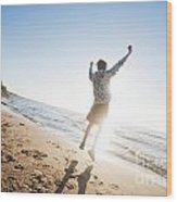 Happiness In The Beach Scenery Wood Print