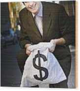 Happy Business Man Smiling With Money Bag Wood Print