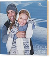 Happy Couple Playing Outdoor At Winter Mountains Wood Print
