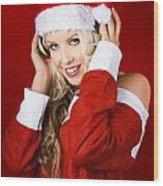 Happy Dj Christmas Girl Listening To Xmas Music Wood Print