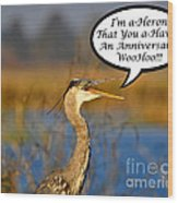 Happy Heron Anniversary Card Wood Print