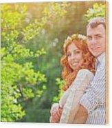 Happy Loving Couple Wood Print