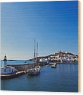 Harbor In Ibiza Town Wood Print