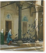 Harem Women Feeding Pigeons In A Courtyard Wood Print by Jean Leon Gerome