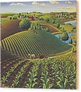 Harvest Panorama  Wood Print