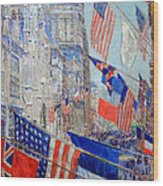 Hassam's Allies Day May 1917 -- The Avenue Of The Allies Wood Print