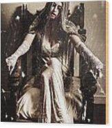 Haunting Horror Scene With A Strange Vampire Girl  Wood Print