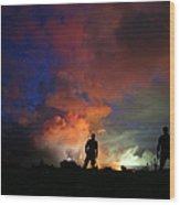 Hawaiis Kilauea Volcano Erupts Forcing Wood Print