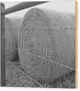 Hay Bales - Black And White Photography Wood Print
