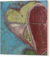 Heart Shape Painted On A Wall, Safed Wood Print