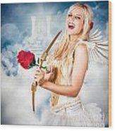 Heavenly Angel Of Love With Flower Arrow Wood Print