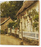 Helford Cottages Wood Print