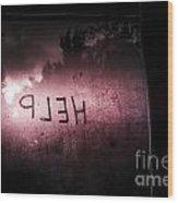 Help Written On A Misty Glass Window. No Escape Wood Print