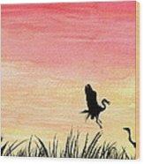 Herons At Sunset Wood Print by Prashant Shah