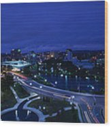 High Angle View Of A City, Big Spring Wood Print