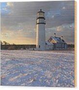 Highland Lighthouse Winter Sunset Wood Print