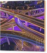 Highway Intersection In Shanghai Wood Print by Lars Ruecker