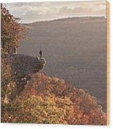 Hiker On Hawksbill Crag In Arkansas Wood Print