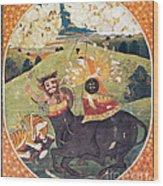 Hindu Goddess Durga Fights Mahishasur Wood Print