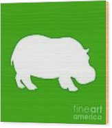 Hippo In Green And White Wood Print