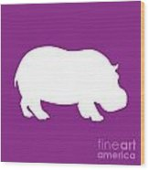 Hippo In Purple And White Wood Print