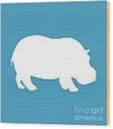Hippo In White And Turquoise Wood Print