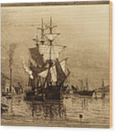Historic Seaport Schooner Wood Print