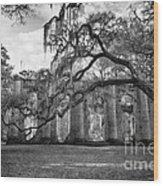 Historic Sheldon Church 4 Bw Wood Print