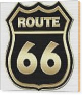 Historical Route 66 Sign Illustration Wood Print
