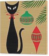 Holiday Cat Wood Print