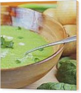 Homemade Potato And Spinach Soup Wood Print