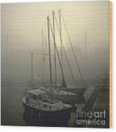 Honfleur Harbour In Fog. Calvados. Normandy. France. Europe Wood Print by Bernard Jaubert