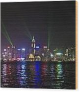 Hong Kong Harbour Laser Light Show  Wood Print
