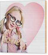 Hopeless Romantic Girl Showing Signs Of Love Wood Print