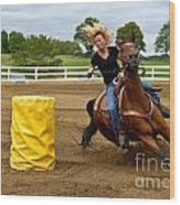 Horse And Rider In Barrel Race Wood Print