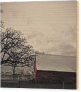 Horse Barn In Red  Wood Print by Garren Zanker