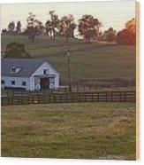 Horse Farm Sunset Wood Print