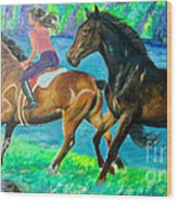 Horse Riding In Lake Wood Print
