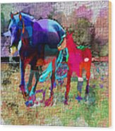 Horses Of Different Colors Wood Print