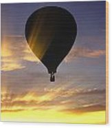 Hot Air Balloon At Sunset. Wood Print