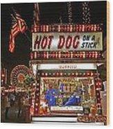Hot Dog On A Stick Wood Print